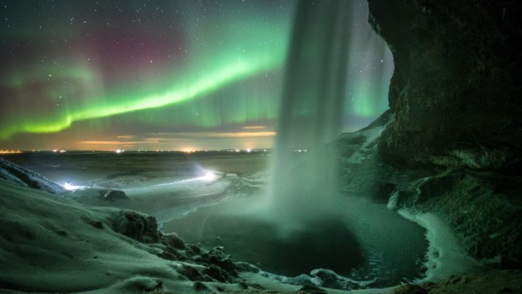 Seljalandsfoss Northern Lights