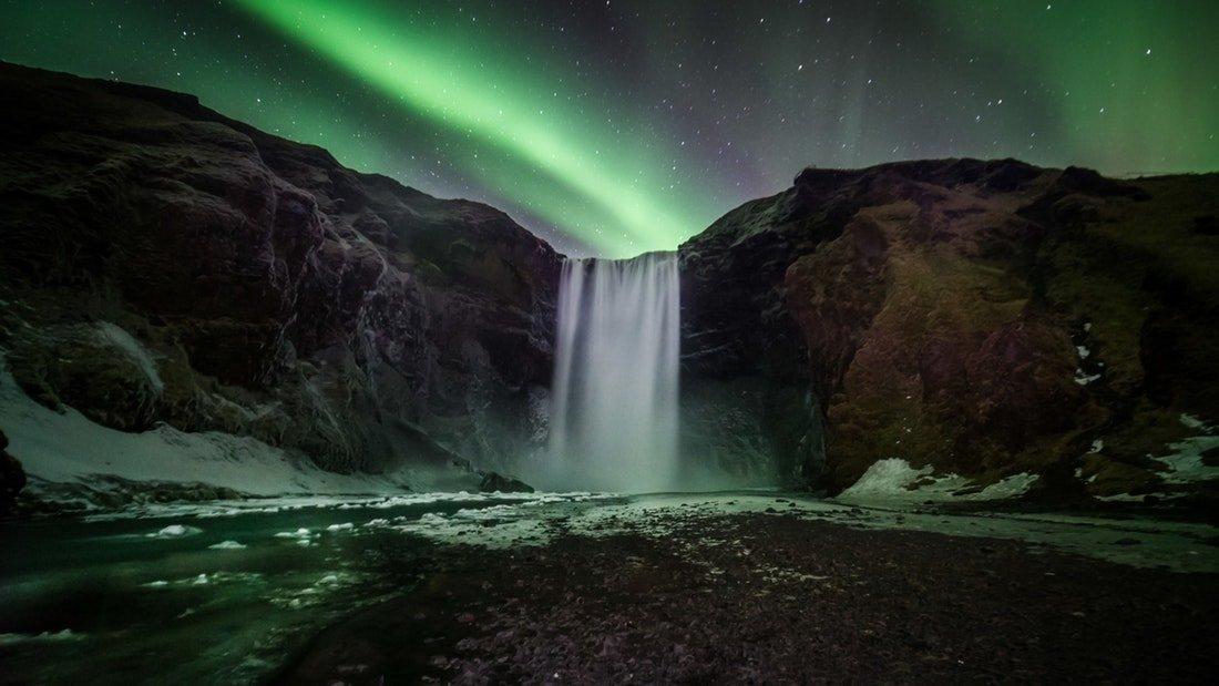Northern Lights Skogafoss