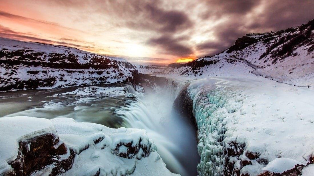 Iceland Gullfoss Waterfall Winter